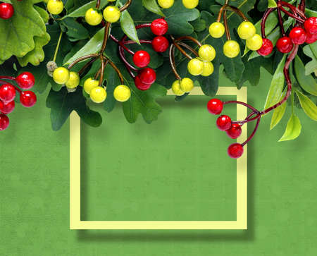 Autumn oak and rowan branches with red berries on green background. Creative paper trending background.