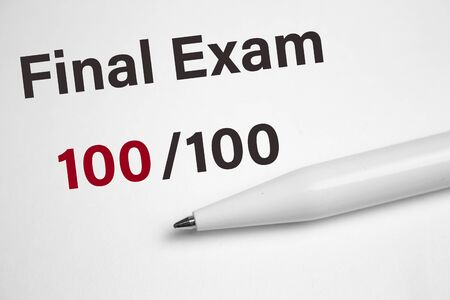 Final exam marked with 100 isolated on white.