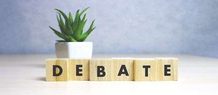 Wooden Blocks with the text: Debate concept. Stock Photo