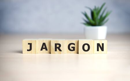 Jargon - word from wooden blocks with letters, special words and phrases jargon concept, top view on blue background Foto de archivo