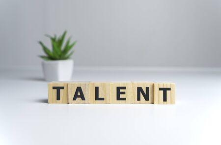 Talent Word Written In Wooden Cube on white background. Stok Fotoğraf