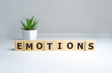 EMOTIONS word written on wood block, psychology concept. 写真素材