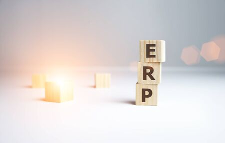 Enterprise Resource Planning collected of wooden elements with the letters.