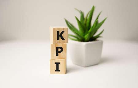 KPI Word Written In Wooden Cubes,Key Performance Indicator Stock fotó - 155425641