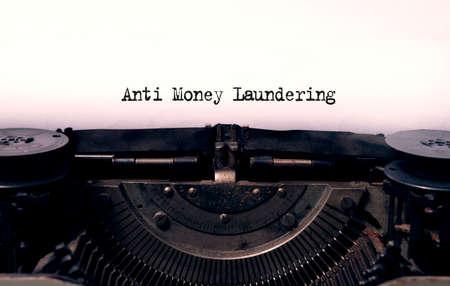anti money laundering typed words on a vintage typewriter Stock Photo