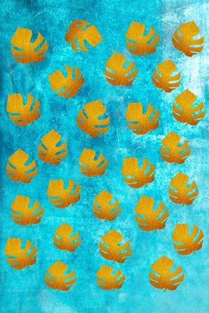denver parks: Gold leaves on a blue background