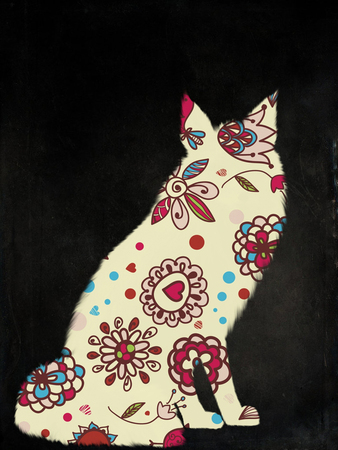Pattern fox on a black background Stock Photo