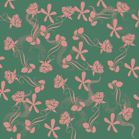 Pink floral pattern on green background Stock Photo - 129410316