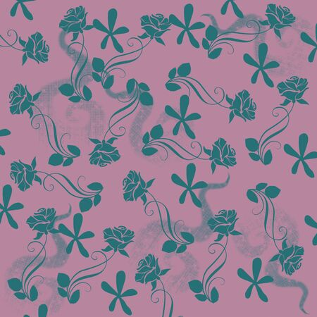 Pink floral pattern on green background Stock Photo - 129410317