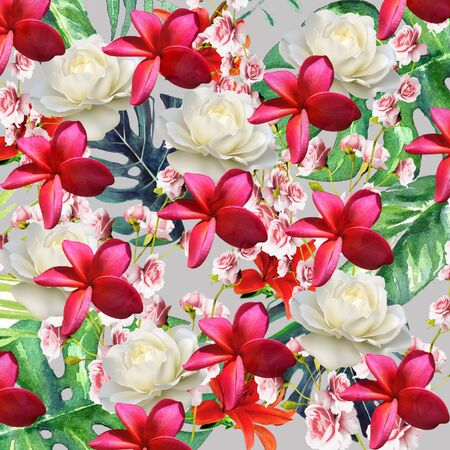 Abstract floral pattern on gray background Stock Photo - 129410318