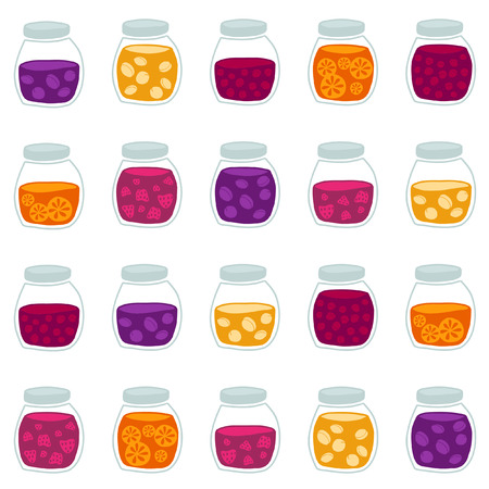 tinned: Fun seamless pattern with the colorful fruit jam jars