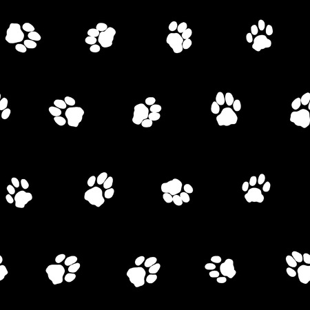 Contrast black and white seamless pattern with cat footprints  Simple and plain cats footprints background  Vector