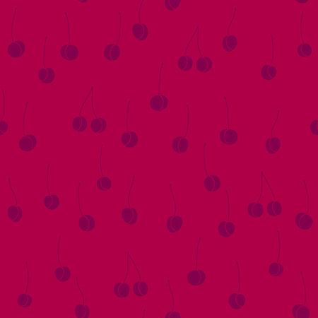 rojo oscuro: De color rojo oscuro con el modelo incons�til violeta Cerezas Shadeless ornamento Fondo dulce simple para la decoraci�n o envoltura Vectores