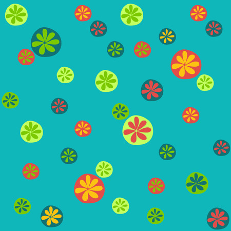 Vivid Seamless Pattern with Various Colorful Oranges on the Green Background Vector