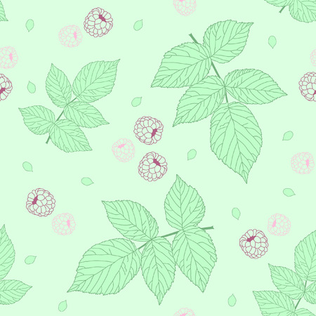 Light Seamless pattern with raspberries and green raspberry leaves.  Vector
