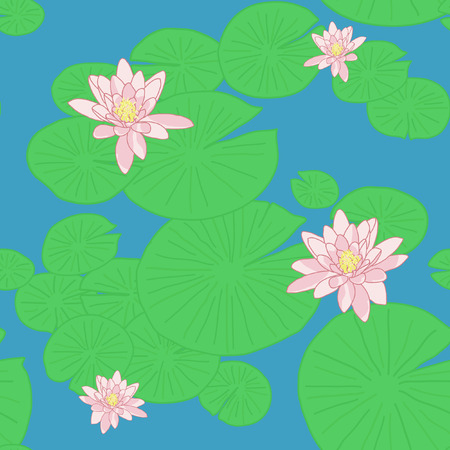 Bright Seamless pattern with Yellow Lotuses in the pond.   Vector
