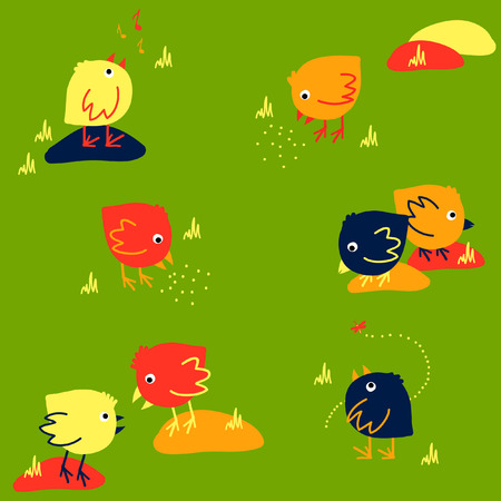 Funny Seamless Pattern with Small Yellow, Orange and Dark-blue chickens on a Green Background Vector