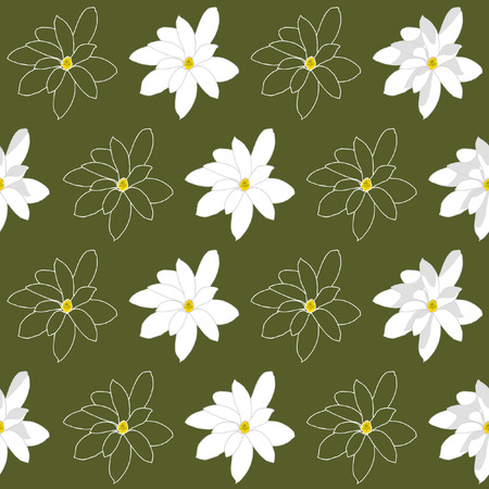 Seamless Pattern with Bright White Magnolia Flowers on a Marshy Green Background Illustration