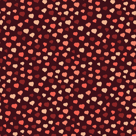 Seamless Pattern from Small Pink Hearts on a Brown Background Vector