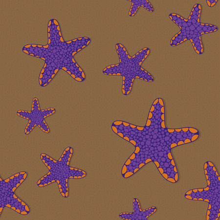 Seamless pattern with violet and orange star fish on a sandy background.