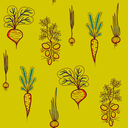 bedrock: Contrast seamless pattern with Growing Vegetables - Potato, Carrot, Garlic, Beetroot, and Onion on a Yellow Background