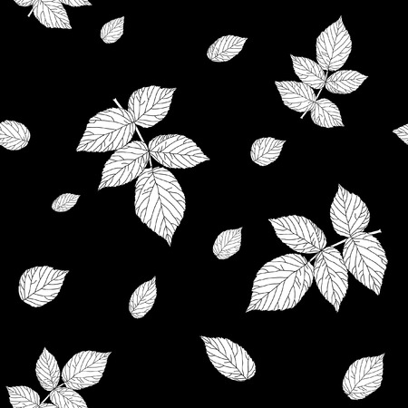 bramble: Monochrome black and white colored seamless pattern with raspberry leaves