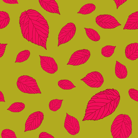 Contrast pink-red and dark yellow colored seamless pattern with raspberry leaves