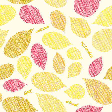 scraped: September soon. Autumn texture with scraped raspberry leaves. Contrast seamless pattern with scratched raspberry leaves. Plain endless background with blackberry or raspberry leaves for decoration. Illustration