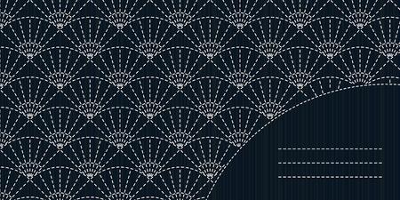 for text: Disegno fancywork giapponese. Cornice di testo. Sashiko cuciture sfondo. Vecchio motivo. Modello in bianco e nero. Abstract Sashiko con copia spazio per il testo. Motivo Sashiko - fan (Uchiwa).