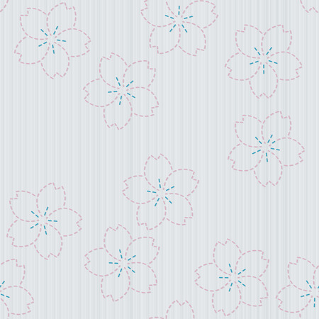 fancywork: Antique japanese fancywork. Sashiko with sakura flowers. Floral background. Needlework texture. Spring backdrop. Pattern fills. For decoration or printing on fabric. Seamless pattern.