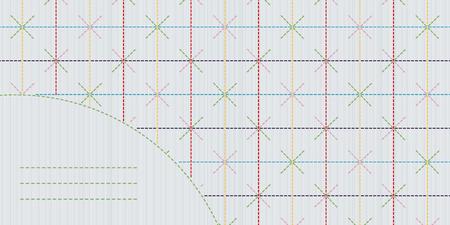 for text: Modello di ricamo giapponese. Cornice di testo. Sashiko cuciture sfondo. Quilling giapponese classico. Sfondo geometrico. Cornice Sashiko decorativo con copia spazio per il testo.
