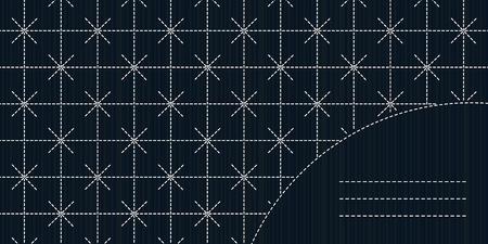 for text: Semplice ornamento Sashiko con copia spazio per il testo. Sashiko cuciture sfondo. Giapponese invito opera. Cornice di testo. Astratto cucito giapponese. Trama decorativa. Monocromatico.