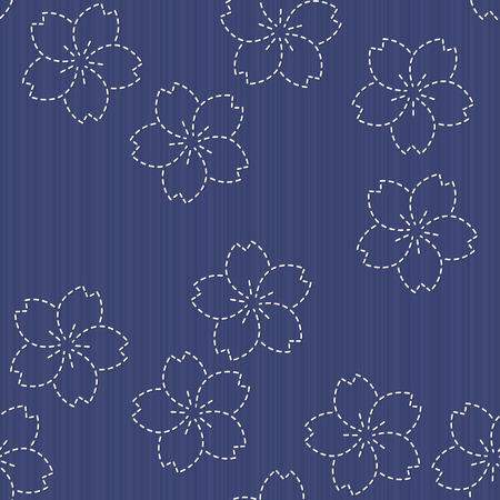 Ornement Broderie traditionnelle japonaise avec la floraison des fleurs de sakura. Seamless pattern. Sashiko motif - la floraison des fleurs de cerisier. Toile de fond floral. Needlework texture. Banque d'images - 45025961