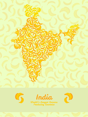 largest: India map poster or card. Vegetarian postcard. Map of India made out of yellow bananas. Fruitarian illustration. Series: Worlds Largest Banana Producing Countries. Can be used as seamless pattern.