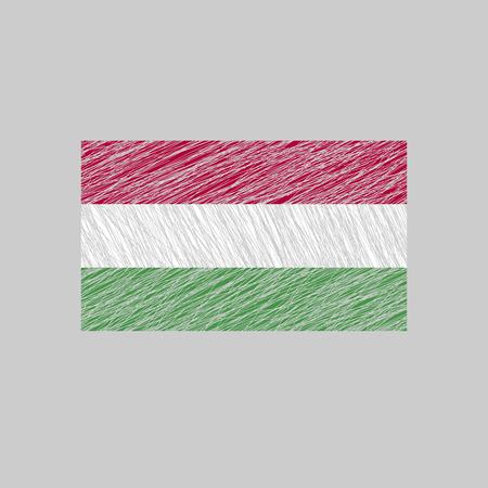 magyar: Hungary Flag. Scratched texture. Transparent background. Illustration