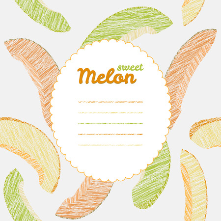 harvest background: Endless fruit texture. Dessert texture. Yellow and green melon template. Text frame. Autumn harvest background. Repeating backdrop with scratched melon slices. Can be used as seamless pattern.
