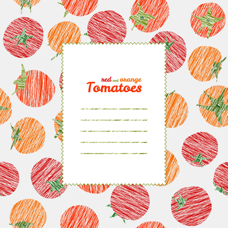 harvest background: Text frame. Repeating backdrop with scratched tomatoes. Summer harvest background. Endless tomato texture. Vegan texture. vegetable template. Can be used as seamless pattern. Veggie background. Illustration