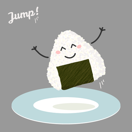 Jumping onigiri illustration. Triangle japanese rice ball wrapped with nori seaweed. Smiling onigiri jump from blue plate. Japanese manga style. 矢量图像