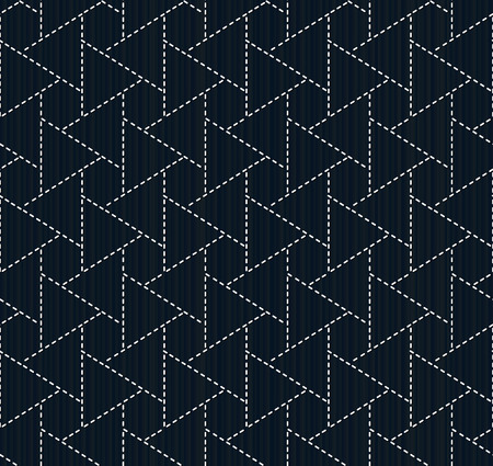 embroidery on fabric: Traditional japanese embroidery. Sashiko. Seamless pattern. Abstract backdrop. Geometric background. Needlework texture. Pattern fills. For decoration or printing on fabric. Illustration