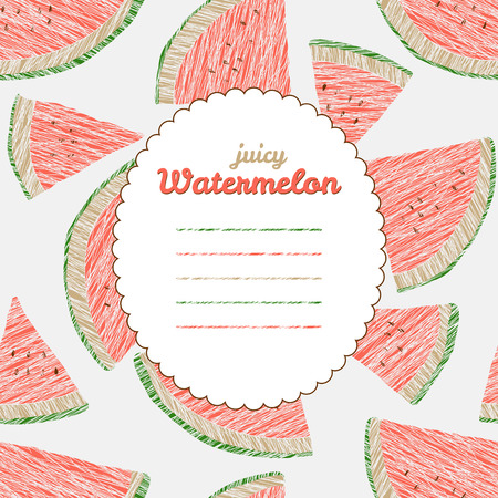 watermelon slice: Text frame. Autumn harvest background. Repeating backdrop with scratched watermelon slices. Endless fruit texture. Dessert texture. Red watermelon template. Can be used as seamless pattern. Illustration