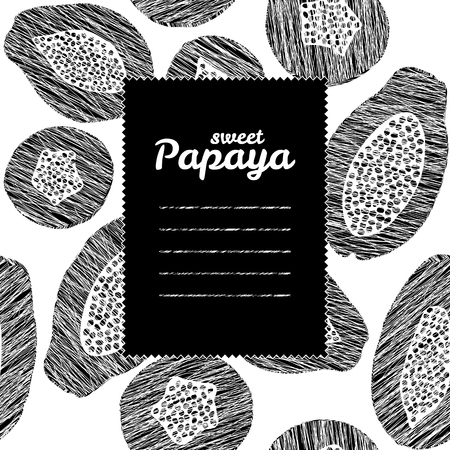 cool colors: Text frame with papaya background. Monochrome. Repeating backdrop with scratched pawpaw slices. Black and white harvest background. Endless fruit texture. Cool colors. Can be used as seamless pattern.