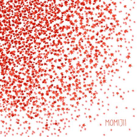 'Momiji!' Wenskaart. Herfstbladeren. Eenvoudige briefkaart met verspreide kleine esdoorn bladeren. Vlakte flyer met blad symbolen. Vallen achtergrond kaart. Verspreide kleine blaadjes met textuur. Japanse achtergrond. Stockfoto - 45025931
