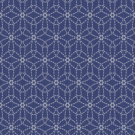 fancywork: Antique japanese fancywork. Sashiko. Seamless pattern. Old Sashiko motif flower (Hana-Zashi). Abstract. Geometric background. Needlework texture. Pattern fills. For decoration or printing on fabric. Illustration