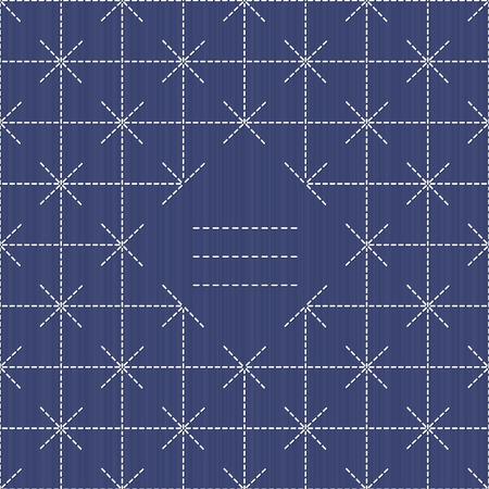 for text: Monochrome motivo Sashiko con copia spazio per il testo. Giapponese invito opera. Cornice di testo. Astratto cucito giapponese. Trama decorativa. Pu� essere usato come seamless. Vettoriali