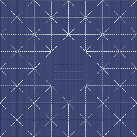 handiwork: Monochrome sashiko motif with copy space for text. Japanese handiwork invitation. Text frame. Abstract japanese needlework. Decorative texture. Can be used as seamless pattern. Illustration
