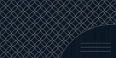 for text: Semplice motivo Sashiko con copia spazio per il testo. Sullo sfondo di cucitura. Carta cucito giapponese. Cornice di testo. Fancywork antico. Monocromatico. Old Sashiko motivo - sette tesori (Shippo-Tsunagi).