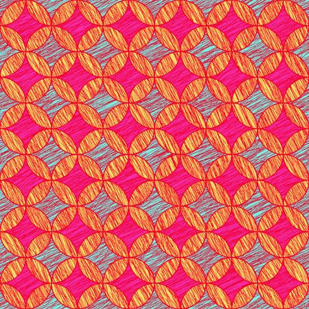 stitching: Grunge round background. Based on Traditional Japanese Embroidery. Abstract Seamless pattern. Based on Sashiko stitching - shippo-tsunagi. Colorful backdrop. Warm.