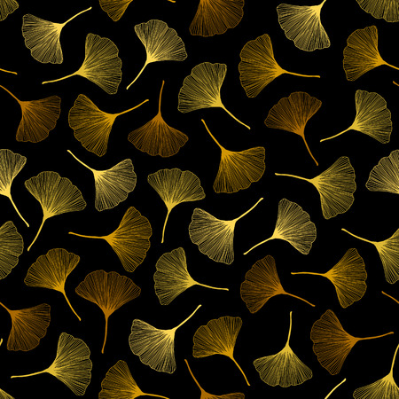 Seamless pattern with ginkgo leaves. Autumn texture. Bright colors. Fall illustration. Colorful background. Contrast leaf backdrop. For wallpaper, pattern fills, web page background, surface textures.