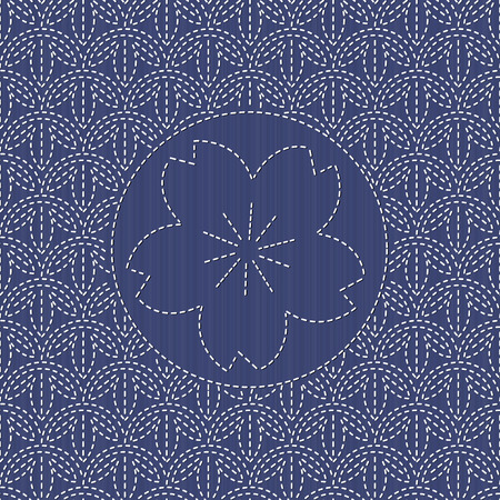 flourishing: Traditional japanese embroidery. Sashiko. Abstract backdrop. Geometric background. Needlework texture. Pattern fills. For decoration or printing on fabric. Can be used as seamless pattern.