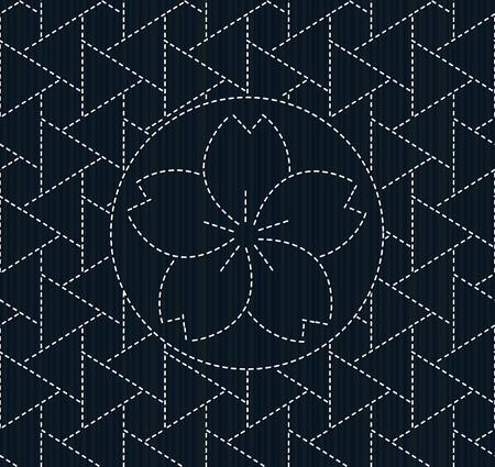 flor de sakura: Classic japanese quilling. Sashiko with sakura flower. Abstract backdrop. Geometric background. Needlework texture. Pattern fills. For decoration or printing on fabric. Seamless pattern.